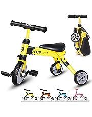 XJD 2 en 1 Triciclo para Niños Triciclo para Bebés Bicicleta del Balance del Bebés Bolsa de Transporte para Bicicletas Triciclo Ligero y Plegable Juguetes para Montar para Niños y Ninas De 2 a 4 años