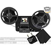Wolverine 8mm & Super 8mm Reels to Digital MovieMaker Pro Film Digitizer, Film Scanner, Microfiber Cleaning Cloth, Dual Voltage 100-240V AC Adapter & International Two-Prong Round Pin Plug Adapter