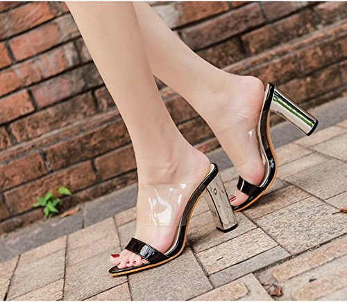 De Sandales Talons 8 eight Transparents Superbe KHSKX À Chaussures Noires Chaussures Des Plastique Chaussures Thirty Étanches 5Cm En De Avec Cristaux Chaussures Épais C0qZqw8
