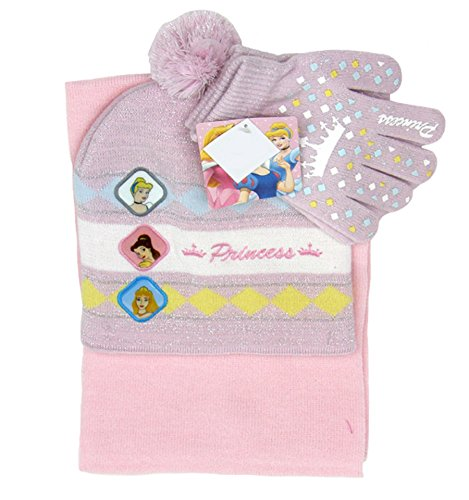 Granny's Best Deals (C) Princesses Pink Winter Scarf,Beanie & Gloves Set-Brand New with Tags!