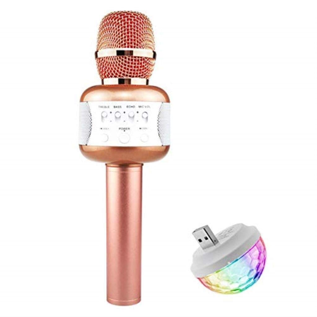 Rsiosle Wireless Bluetooth Karaoke Microphone with Mini USB Disco Lights Portable KTV Music Player Singing Mic Compatible with Android and iOS ( Color : Pink ) by Rsiosle (Image #1)