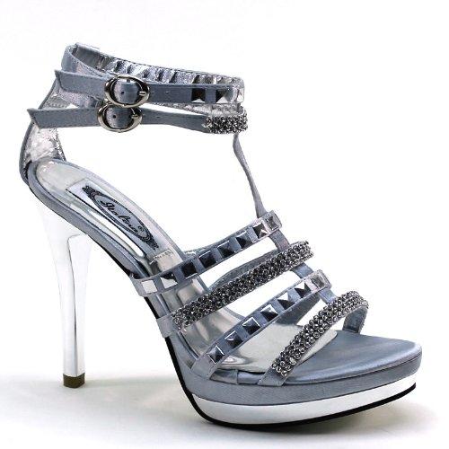 Sandali Con Cinturino Alla Caviglia Tacco Alto E Diamanti 99147 Argento