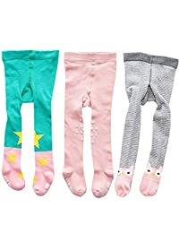 3 Pack Of Baby Toddlers Girl Stocking Warn Cartoon Print Cotton Footed Tights Legging Pants