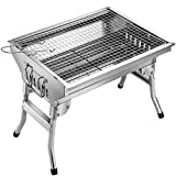 Homemaxs BBQ Grill, Stainless Steel BBQ Charcoal Grill, Portable Folding Outdoor Barbecue Griddle Cooking Appliance for Camping, Tailgating, Backpacking, Hiking, Picnic