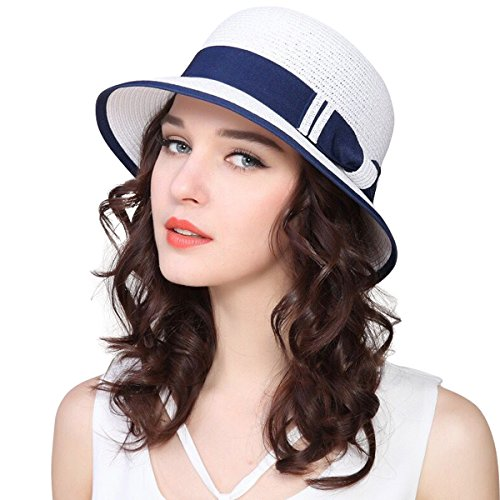 Lanzom Women Wide Brim Straw Foldable Roll up Cap Fedora Beach Sun Hat UPF50+ (A-White)