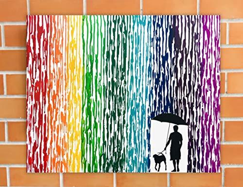 Pet Memorial Painting Dog Art Canvas Pet Silhouette Art Mans Best Friend Gift Melted Crayon Art New Dog Gifts Rainbow Wall Art 16x20