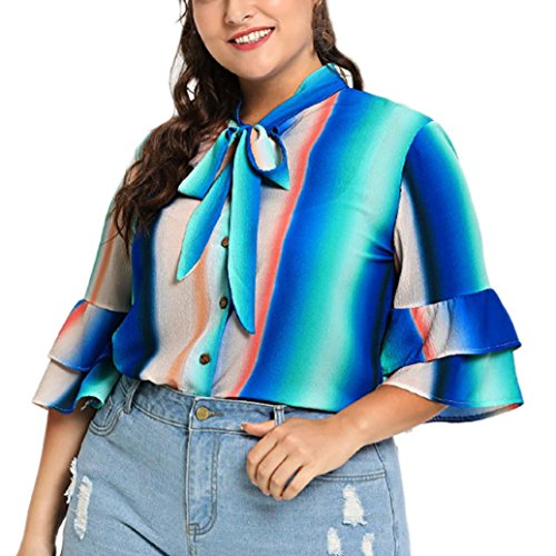 MOONHOUSE ❤️❤️ Women Sexy Long Sleeve Tie Dye Printed Knot Button Tops Slim Fit Crop 2018 T-Shirt Blouse❤️❤️ Plus Size (XL, Blue) (Tie Dye Bleach)
