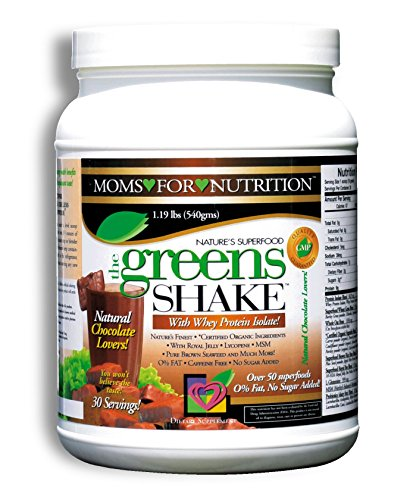 Greens Shake Protein Powder, Low Calorie Fat Free Whey Protein Isolate w/ Over 50 Superfoods, Probiotics and Digestive Enzymes, Amazing Natural Chocolate Flavor, 30 Servings, 19 Ounces