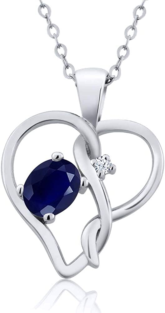 Gem Stone King 0.56 Ct Oval Blue Sapphire 925 Sterling Silver ...