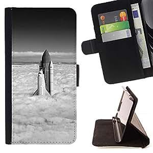 Momo Phone Case / Flip Funda de Cuero Case Cover - Space Shuttle Nubes;;;;;;;; - Apple Iphone 5 / 5S