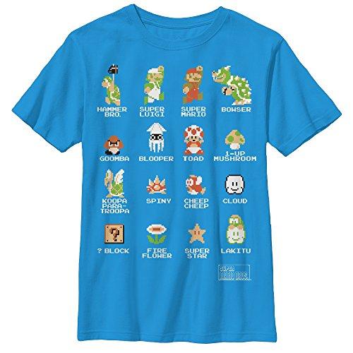 Nintendo Little Boys Pixel 9 Cast Graphic T-Shirt, Turquoise, YM
