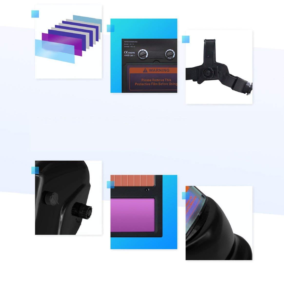Soudage /Écran de Protection Protection du Travail Soudure Photo/électrique Variable Automatique Masque Soudage Masque de Soudeur Grand Champ de Vision Noir Brillant