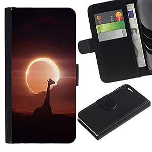 KingStore / Leather Etui en cuir / Apple Iphone 5 / 5S / Jirafa Luna Sun Eclipse Savannah noght Cielo