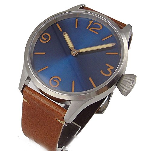 Parnis Brush 43mm Blue Dial Sapphire Glass 17 Jewels 6497 Hand Winding Movement Men's Watch PA107 (Brown)