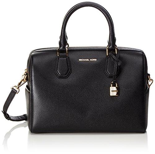 Michael Kors Women's Mercer Medium Leather Duffel Bag, Black, OS by Michael Kors