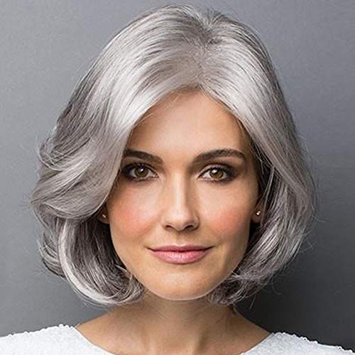 Europe and America wig, Middle and old aged Short curly hair Silver gray short hair Chemical fiber fluffy lifelike Mid-point Wig cover Women's Wig Heat Resist Cospaly Party