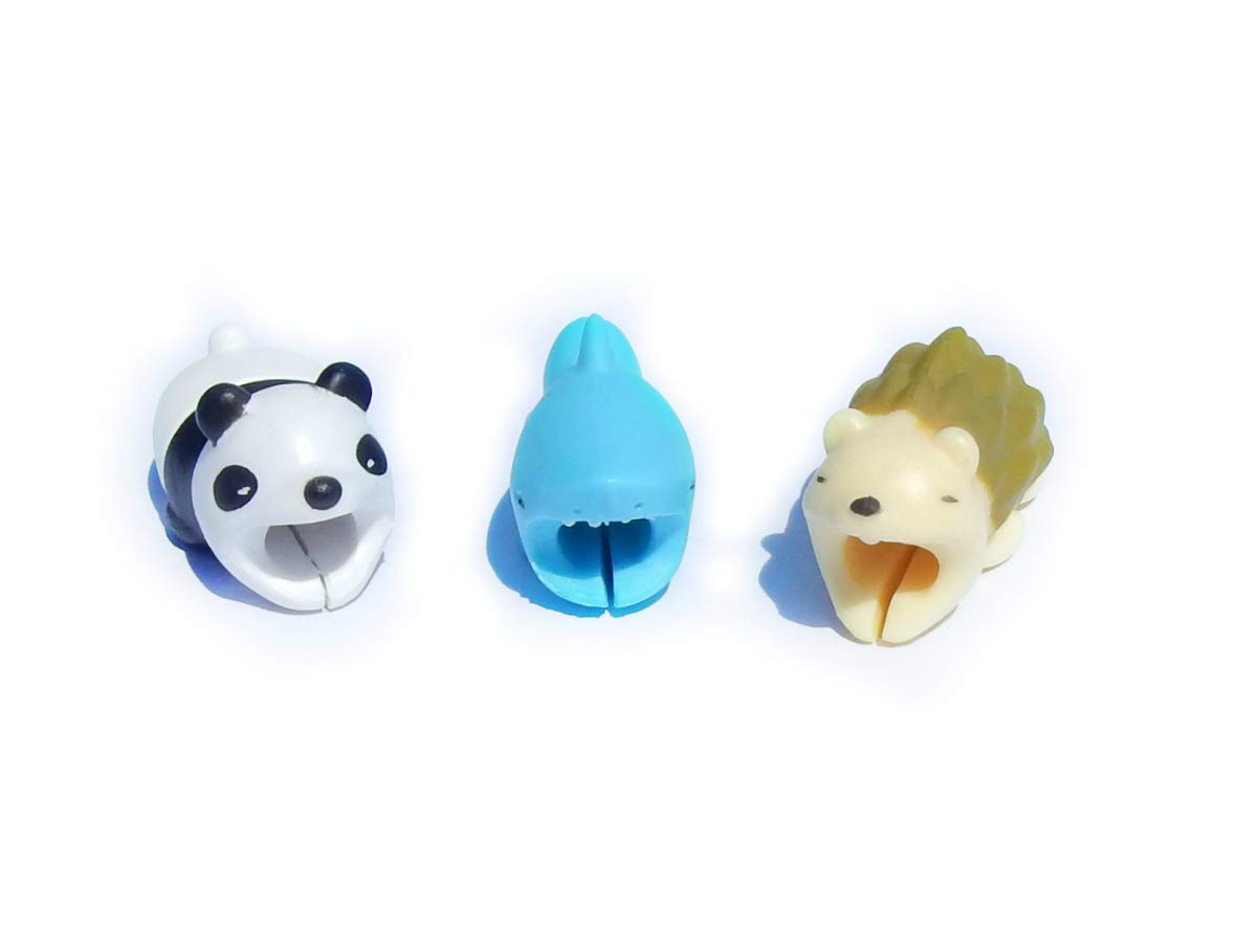 Cable BITE Animal Bite CHOMPERS Cable Bites Cute Animal Designs for Mobile Cellphone Smartphone Laptop Compatible with iPhone iPad Android Lightning USB Type-C Cord Charger Protector 3 Pack by STMT