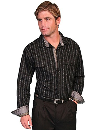 Scully Men's Fancy Striped Western Shirt Black XX-Large from Scully