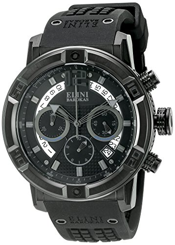 Elini Barokas Men's 'Spirit' Swiss Quartz Stainless Steel Casual Watch (Model: ELINI-20003-BB-01-PHT) - Elini Black Chronograph