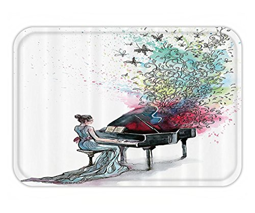 (Beshowere Doormat Music Decor Collection Grand Piano Music ButterflieOrnamental Pianist SwirlVintage Image Pattern Polyester Fabric Bathroom Set with HookGreen Red.jpg)