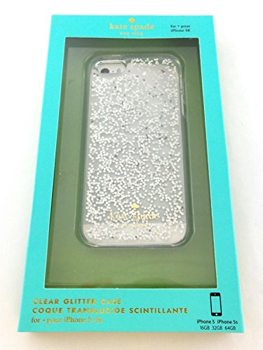 Kate Spade Clear Glitter Case For iPhone SE, 5 & 5s KSIPH-021-SLVRGL Silver