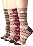 Timberland Women's Vintage Style Cotton Crew Sock 4-Pack Assorted, Tan/Port/Bark/Tan, One Size