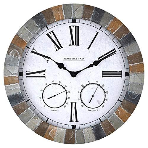 (FirsTime 99670 Garden Stone Outdoor Wall Clock, Faux)