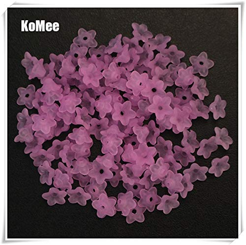 Calvas Wholesale 10mm 1000pcs Frosted Pink Acrylic Lucite Flower Beads Fit Jewelry DIY - (Color: Lavender) ()