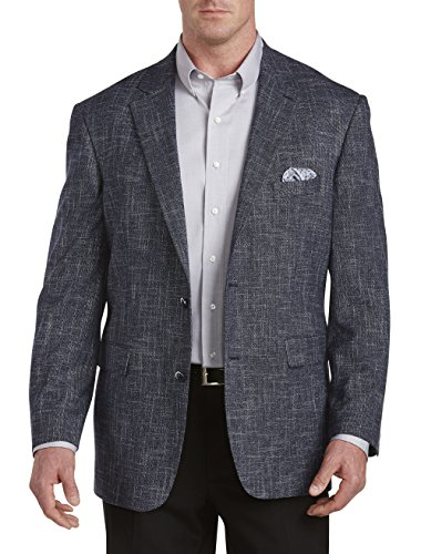 Textured Blazer Jacket (Oak Hill by DXL Big and Tall Textured Jacket-Relaxer Sport Coat, Navy 2XL PO)