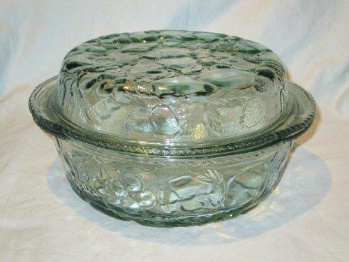 "Vintage Libbey-Rock Sharpe "" Orchard Fruit "" Green Glass Round Covered Casserole Baking Dish - 3 Quart"