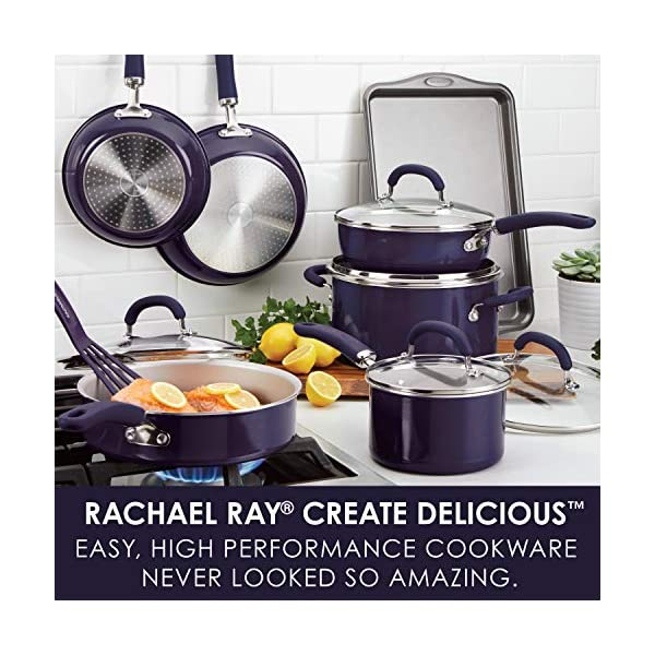 Rachael Ray Create Delicious Nonstick Cookware Pots and Pans Set, 13 Piece, Purple Shimmer 2