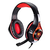 TurnRaise Adjustable Headband LED Light Over-Ear Headphone Headset with Mic for XBOXONE/ Laptop Tablet/ PS4/ Mobile Phones (Red)