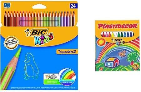 Bic - Pack 24 lápices de colores Tropicolors + 12 ceras de colores ...