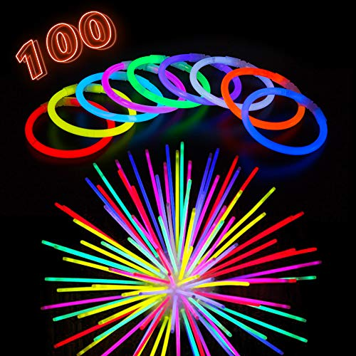 Glow Sticks Bracelets Party Pack - 100 Extra Bright Glow in The Dark Light Sticks with Strong Connectors - 8 Bulk Wristbands in 9 Vibrant Neon Colors - Glowsticks Light Supplies for Kids