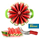 Buyless Kitchen Watermelon slicer 12-blade Fruit Cutter Tool Set plus BONUS Tong Corer Premium 430 Stainless Steel - Comfortable & Non Slip Handle, Cutting Slicing for High Performance - Red