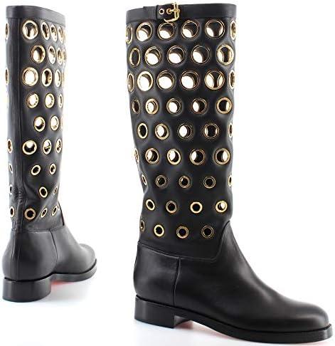 Christian Louboutin Dames Schoenen Laarzen Apollobotta Kalf Zwart Goud Italië Nieuw