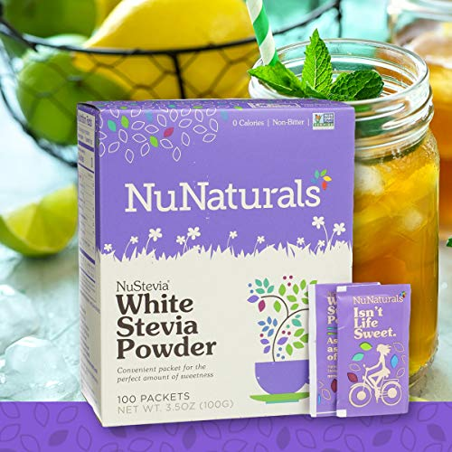 (NuNaturals White Stevia Powder All Purpose Natural Sweetener, Sugar-Free (100 Packets))