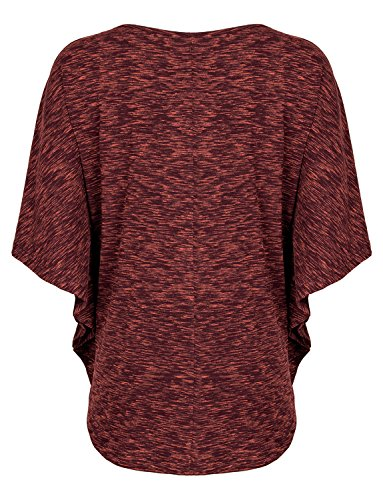 Timeson Batwing Shirt Women Short Sleeve Scoop Neck T-Shirt Blouse Top Small Wine by Timeson (Image #1)