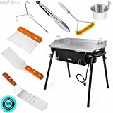 SKEMIDEX---9pc lpg gas Propane double Stove Burner w flat griddle Stainless comal Plancha And best grilling accessories grill accessories walmart grill accessories gifts professional bbq tools grill