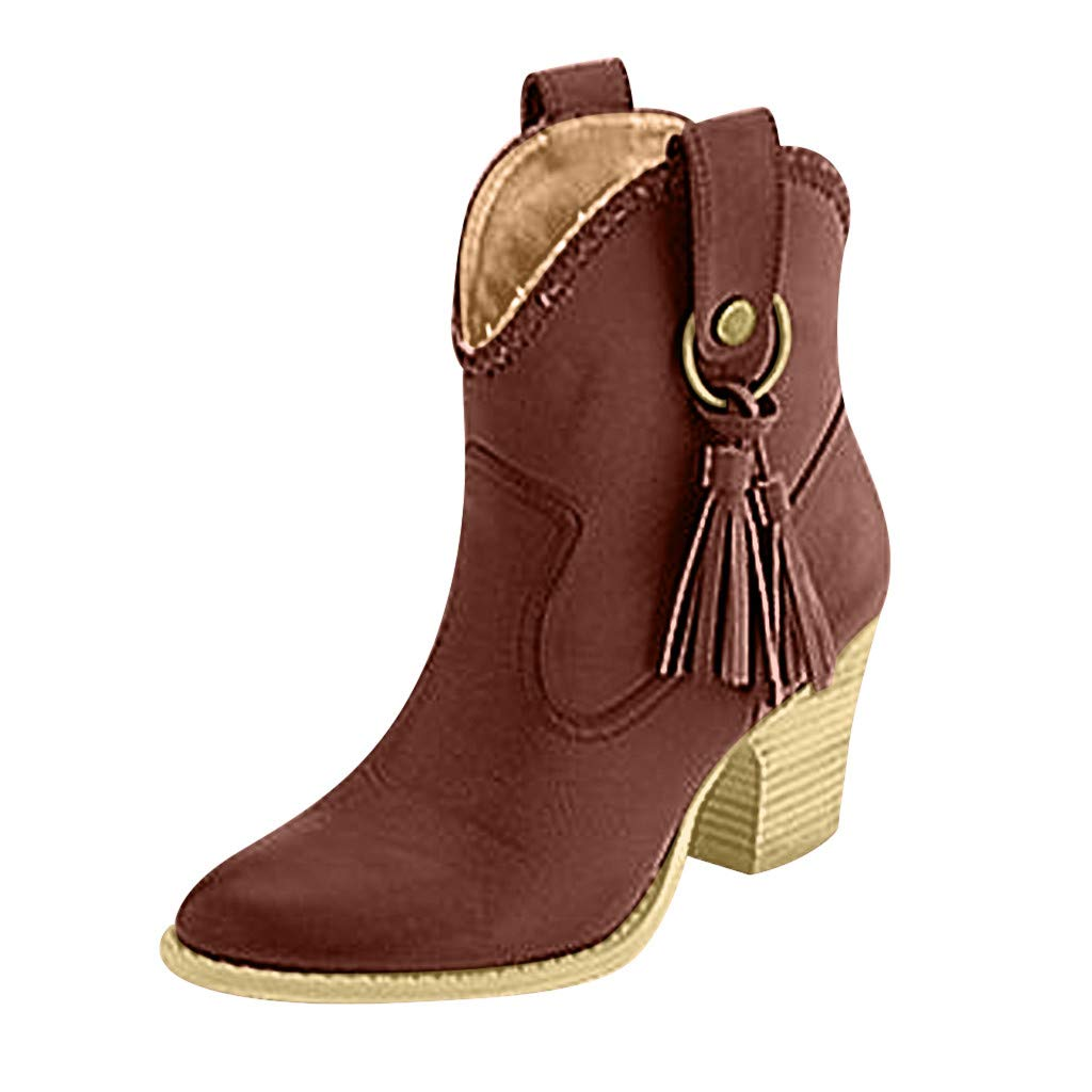 Kauneus➡ Ankle Boot Womens Fur Lined Chunky Stacked Mid Heel Tassel Winter Mid-Calf Boot Brown