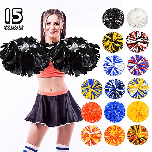 ANALAN 15 Colors 2 Pack Plastic Cheerleading Pom Poms for Adults Kids Cheer Sports Dance from ANALAN