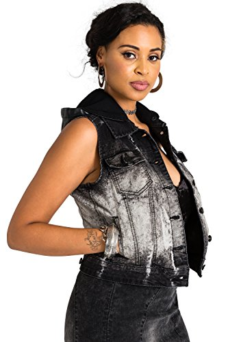 (Poetic Justice Curvy Women's Black Stretch Denim Bleached Detachable Hooded Vest Size Large)