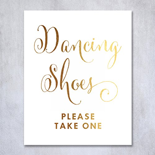 Dancing Shoes Gold Foil Sign Wedding Flip Flops Basket Signage Reception Table Poster Decor Calligraphy 8x10 5x7 Please Take One
