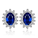 JewelryPalace Princess Diana William Kate Middleton's 1.5ct Created Blue Sapphire Stud Earrings 925 Sterling Silver