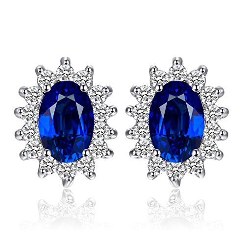 - JewelryPalace Princess Diana William Kate Middleton's 1.5ct Created Blue Sapphire Stud Earrings 925 Sterling Silver