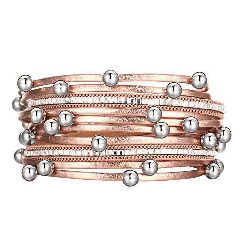 - Fesciory Women Multi-Layer Leather Wrap Bracelet Handmade Wristband Braided Rope Cuff Bangle with Magnetic Buckle Jewelry(Rose Gold Beads)