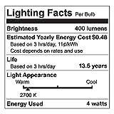 Tenergy Dimmable LED Candelabra Light Bulbs, 4W (40 Watt Equivalent) Warm White Soft White (2700K) E12 Candle Base Decorative B11/C37 Edison Bulbs for Chandelier (Pack of 6)