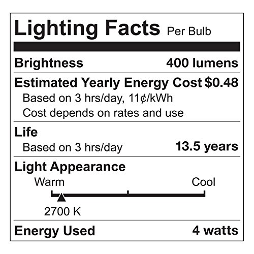 Tenergy Dimmable Edison Bulbs 4W LED Filament Bulbs (40 Watt Equivalent), Soft White (2700K), ST64 Bulbs, E26 Medium Standard Base Decorative Light Bulbs for Ceiling Light Fixtures (Pack of 6) by Tenergy (Image #1)