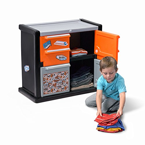 Step2 Hot Wheels Race Car Dresser for Toddler Boys - Durable Plastic Chest Storage Organizer with Racing Decals (2 Bed Car Step)