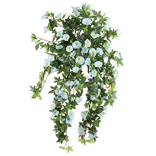 Garland Blue Basket - Morning Glory Artificial Silk Flowers Hanging Plant Vine for DIY Garland Home Party Wedding Garden Decor Pack of 2 (Light Blue)